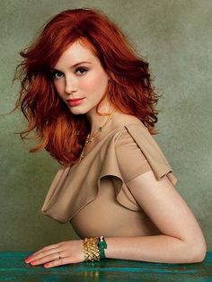 christina Hendricks. @Jessica Gallipo This is what my goal hair is!!! Ready for this journey to amazing hair?!