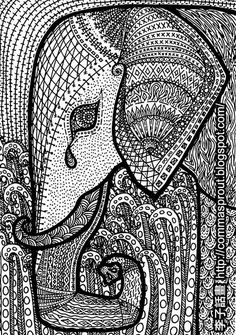 ☮ American Hippie Art - Adult Coloring Zentangle Tattoo Idea ☮ Elephant