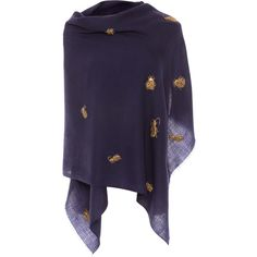 Janavi Navy Embellished Merino Wool Scarf (26,485 INR) ❤ liked on Polyvore featuring accessories, scarves, navy, navy scarves, merino wool scarves, navy blue shawl, navy shawl and embroidered shawl