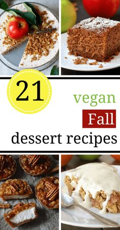 These Vegan Fall Dessert Recipes will get you in that Sweater Weather mood in no time! Cozy cinnamon, apple and pumpkin are the main ingredients in these super tasty and comforting sweet, dairy-free treats. | The Green Loot #vegan #veganrecipes #dairyfree #fallrecipes #comfortfood Fall Dessert Recipes, Fall Desserts, Vegan Thanksgiving Desserts, Dairy Free Thanksgiving Recipes, Vegan Desserts, Vegan Sweets, Vegan Pastries, Delicious Vegan Recipes, Tasty