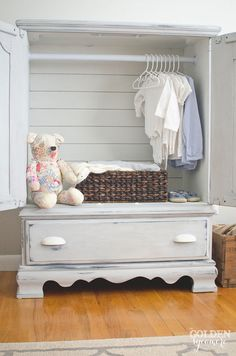 Turn an old entertainment unit into an Armoire with planked back | via www.thegoldensycamore.com