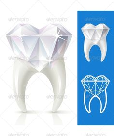 Vector tooth in the shape of diamond