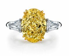 4 Carat Fancy Yellow Oval Engagement Ring