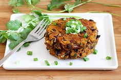 Sweet Potato Black Bean Cake Recipe.  126 calories per cake, with ingredients I have at home.  Whaaaat??