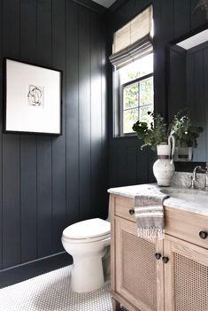 Black bathroom with white penny tile bathroom remodel cost, bathroom renova Bathroom Interior, Bathroom Decor, Shiplap Bathroom, Black Bathroom, Penny Tiles Bathroom, Bathroom Interior Design, Home Decor, Ship Lap Walls, Bathroom Design