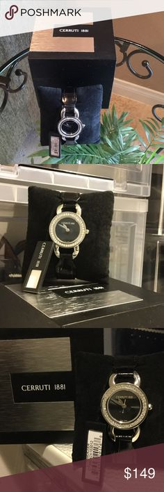 CERRUTI 1881 FASHION WATCH 🚫TRADES CERRUTI 1881 Ladies Swarovski Fiore Swiss Quartz Watch. NIB, NWT. Just in time for early CHRISTMAS shopping☃ Waterproof, black leather band. Face and band still has original wrapping from maker. Comes with black CERRUTI gift box and booklet about watch. CERRUTI Accessories Watches