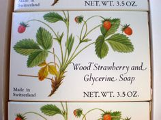 1973 Crabtree and Evelyn Wood Strawberry and Glycerine Soaps 3 bars in original box $25.00