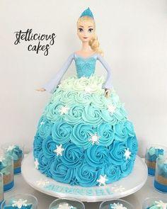 Elsa doll cake for Frozen theme birthday party. Elsa Birthday Cake, Frozen Themed Birthday Party, Disney Frozen Birthday, Princess Birthday, Birthday Party Themes, 5th Birthday, Frozen Birthday Cupcakes, Frozen Cupcake Cake, Barbie Doll Birthday Cake