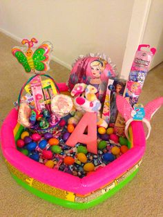 Giant easter basket for all my girls to share made out of a small cinderella easter basket mini pool negle Images
