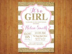 Invitación de la ducha de bebé de color rosa por happyappleprinting