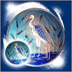 Image Copyright by RC Larner ~ Vintage 20th C. Champleve Enamel Marsh Bird Crane Button ~ R C Larner Buttons at eBay  http://stores.ebay.com/RC-LARNER-BUTTONS
