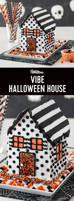 How to Make a Halloween Cookie House - Explore a new house trend as you transform the Wilton® Halloween Cookie House Kit into a striking black and white contemporary design. Orange fondant windows and Nonpareils Sprinkle decorations add a pop of seasonal color. Decorating this house is a fun activity for family, home designers, and friends!