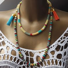 funky Colorful Necklace African beading Jewelry Mothers day gift Necklace mix color necklace African fashion Ethnic necklace long necklace