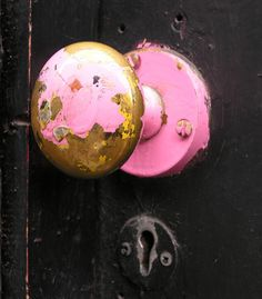 pink knob... Like the heart of one... once shiny new, now tired, old, chipped and broken.  How wear, tear and use can change even the most prettiest.