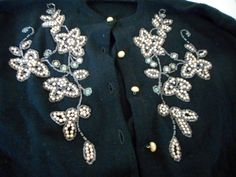 Vintage Beaded Sweater Pearls and Rhinestones by nanascottagehouse