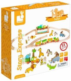 Janod Safari Animal Figures and Express Wood Train Railway Set