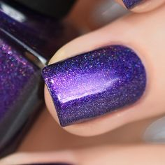 Purple Plasma - Electric Purple Holographic Nail Polish by ILNP - Nail colours - Neon Purple Nails, Navy Blue Nails, Purple Nail Polish, Holographic Nail Polish, Green Nails, Purple Nail Designs, Classy Nail Designs, Short Nail Designs, Faded Nails