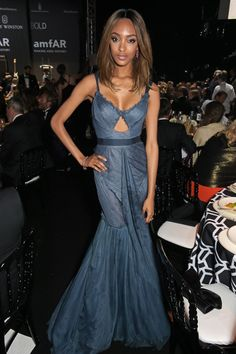 Jourdan Dunn in a blue dress