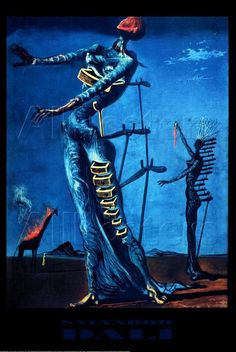 "The Burning Giraffe (1937) is a painting by the Spanish surrealist Salvador Dalí. Dalí painted Burning Giraffe before his exile in the United States which was from 1940 to 1948. Although Dalí declared himself apolitical— ""I am Dalí, and only that""—this painting shows his personal struggle with the battle in his home country. Characteristic are the opened drawers in the blue female figure, which Dalí on a later date described as ""Femme-coccyx"" (tail bone woman). This phenomenon can be traced…"