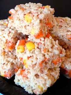 Candy Corn Rice Krispie treats..I'm definitely making these!