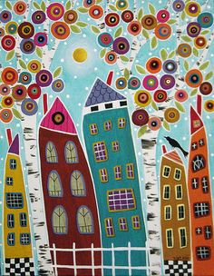 Blooming Trees Houses and a Bird Painting by Karla G | Flickr - Photo Sharing!