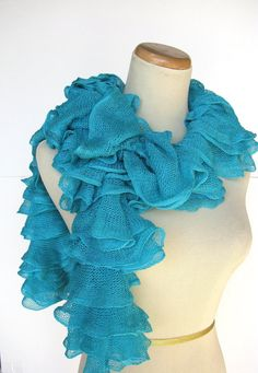 Sale Turquoise Hand Knit Scarf Ruffle Scarf by ArlenesBoutique, $35.00