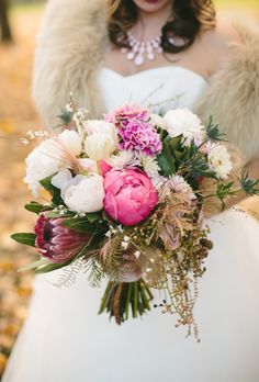 Rustic Peony Bouquet with Greenery and Filler Flowers Peony Bouquets