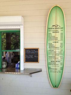 Tigertail Beach Cafe - great use of surfboard for menu Menu Signage, Restaurant Signage, Restaurant Design, Surf Cafe, Beach Cafe, Juice Menu, Opening A Cafe, Food Truck Menu, Banana Beach