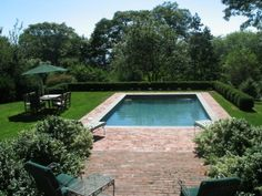 small pool with brick surround