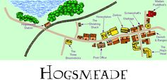 Map of Hogsmeade and Environs. Founded by Hengist of Woodroft over a thousand years ago, Hogsmeade is the only all-wizarding village in Britain. Located near the Hogwarts Express train station, only students in their third year and beyond are allowed to visit.