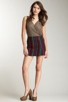 Judith March Navy Pow Wow Jacquard Skirt $29
