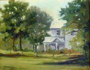 """""""White Farmhouse"""" Oil on canvas"""