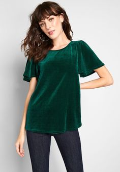Makes My Heart Flutter Knit Top - With the wearability of your favorite knit tee, and the added elevation of flutter sleeves, this emerald green top from our ModCloth namesake label refreshes the notion of a wardrobe staple! Touchably soft, this ribbed and velvet piece pairs easily with your skirts or jeans.