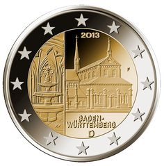 N♡T.2 euro: Baden-Württemberg: Kloster Maulbronn.Country:Germany  Mintage year:2013 Face value:2 euro Diameter:25.75 mm Weight:8.50 g Alloy:Bimetal: CuNi, nordic gold Quality:Proof, BU, UNC