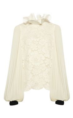 **Philosophy di Lorenzo Serafini** accordion pleated lace blouse features a long sleeves and scalloped hem.
