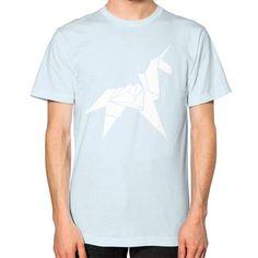 Origami Unicorn Unisex T-Shirt (on man)