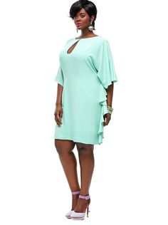 NWT Authentic Designer MONIF C  Plus Size Indiana Dress in Mint, 1X #MonifC #Cocktail