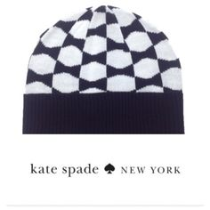 Kate Spade Signature Bow Beanie in Black and White Cozy and chic! A signature bow Kate Spade beanie will keep you warm all winter! The hat is 100% acrylic, has the signature bow print, and a ribbed cuff hem. Bundle with the matching arm warmers and save 10%. kate spade Accessories Hats