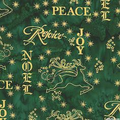 Holiday Wishes Printed Hand-Dye - Spruce Green/Gold