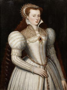 Portrait of lady, half-length, in white bejewelled dress and headdress; circle of Frans Pourbus the Younger, century Renaissance Mode, Renaissance Costume, Renaissance Clothing, Renaissance Fashion, 16th Century Clothing, 16th Century Fashion, Elizabethan Fashion, Elizabethan Era, Historical Costume