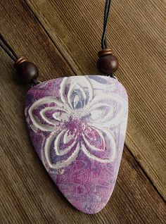 Flower Relief Large Arrowhead Pendant | by WiredOrchid