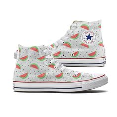 Watermelon Converse High Top chucks are here and made to order especially for you. These Chucks feature a Watermelon pattern over both panels of the shoe. Each pair is custom-made so color and placeme
