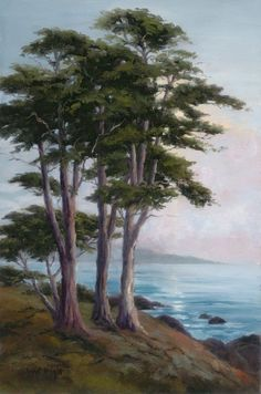 Whispers of the night - Painting Landscape Drawings, Landscape Art, Landscape Paintings, Watercolor Trees, Watercolor Landscape, Seascape Paintings, Nature Paintings, Pictures To Paint, Nature Pictures