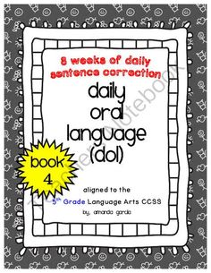 Worksheet Daily Oral Language Worksheets 1000 images about education oral language on pinterest daily dol book 4 aligned to 5th grade ccss from sweet