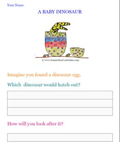 Bring baby dinosaurs alive with fun kids activities! Hatch your own baby, get a free coloring sheet, make your own dino egg and keep a virtual pet. Playdough Activities, Dinosaur Activities, Fun Activities For Kids, Writing Activities, Writing Worksheets, Dinosaurs Eyfs, Baby Dinosaurs, Dinosaurs Alive, Kids Writing