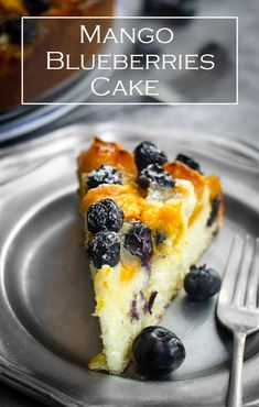 Mango and blueberries cake. This easy mango and blueberries cake is delicious fragrant cake with fresh summer fruits. Mango Recipes, Tart Recipes, Easy Cake Recipes, Best Dessert Recipes, Cheesecake Recipes, Cupcake Recipes, Fun Desserts, Baking Recipes, Sweet Recipes
