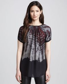 Printed Short-Sleeve Blouse by L\'Agence at Bergdorf Goodman.