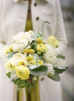White, yellow and green wedding bouquet from Studio Choo.  Photo by Gia Canali. #whiteveronica #yellowbillyballs, #succulents