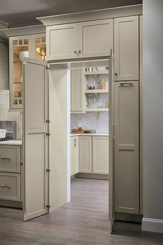 Is a walk-in pantry at the top of your kitchen renovation wish list? The pantry … Is a walk-in pantry at the top of your kitchen remodel wish list? The Pantry Walk Through Cabinet allows you to maintain design cohesion with full-height cabinet doors that Kitchen Pantry Design, Kitchen Cabinet Organization, Organization Ideas, Kitchen Ideas, Kitchen Decor, Cabinet Ideas, Kitchen Inspiration, Kitchen Hacks, Rustic Kitchen