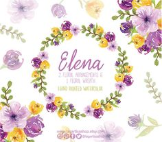 Watercolor clipart Floral Frame PNG wedding by LagartixaShop